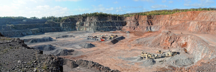 stone crusher in a quarry. mining industry. panorama images