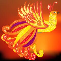 The Phoenix bird as a symbol of rebirth, vector illustration, th