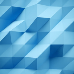 Photo of highly detailed multicolor polygon. Blue geometric rumpled triangular low poly style. Abstract background. Square. 3d render
