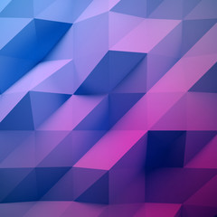 Photo of highly detailed multicolor polygon. Violet, blue geometric rumpled triangular low poly style. Abstract background. Square. 3d render