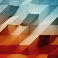 Photo of highly detailed white polygon. Multicolor geometric rumpled triangular low poly style. Abstract gradient graphic background. Square. 3d render
