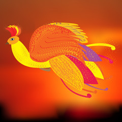 The Phoenix bird as a symbol of rebirth, vector illustration, the firebird