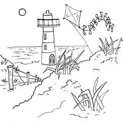 Vlieger en vuurtoren aan de kust vanaf de duinen