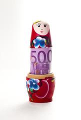 Babushka doll with 500 euro banknote inside