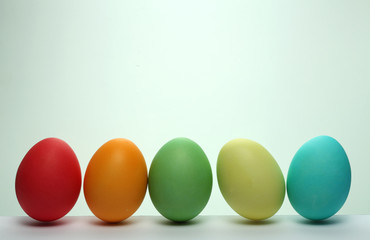 Painted Easter eggs isolated on white background