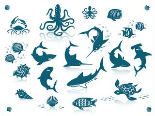 Ocean fishes icon set