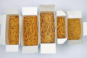 Fünf Sorten Pasta