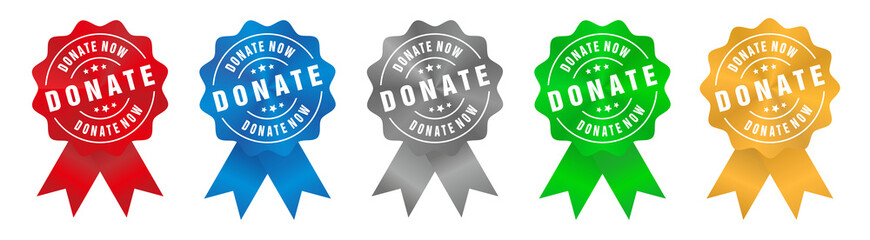 Vector Donate Now Badge Ribbon