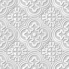 Vector damask seamless 3D paper art pattern background 024 Round Curve Kaleidoscope