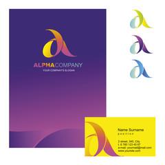 Шаблон фирменного знака A-компании. Корпоративный стиль для компании на букву альфа: логотип, визитная карточка, визитка, обложка буклета или фирменная папка