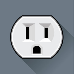 Electric socket (USA) in a flat design
