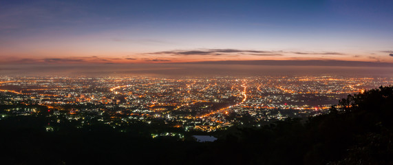 Night city from mountain