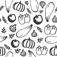 Vector hand drawn doodle food seamless pattern. Chalkboard