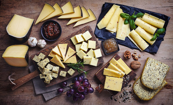 Various cheese. Top view