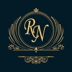 Vintage vector monogram. Elegant emblem logo for restaurants, hotels, bars and boutiques. It can be used to design business cards, invitations, booklets and brochures
