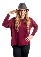 Hipster young girl doing surprise gesture