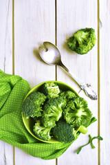 Broccoli in a ceramic bowl.