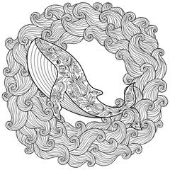 Hand drawn whale in the waves for antistress Coloring Page