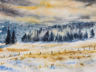 Watercolor illustration of winter mountains landscape.