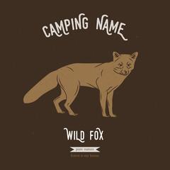 Wild fox vector illustration. European animals silhouettes