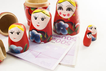 Babushka  nesting doll with 500 euro banknote inside