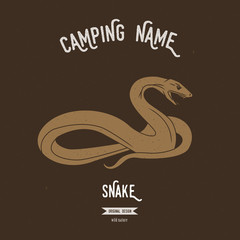 Snake vector illustration. European animals silhouettes with