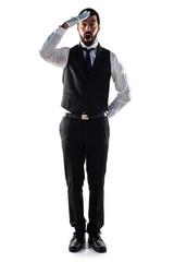 Luxury waiter doing surprise gesture