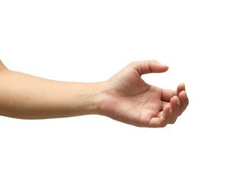 hand hold something isolated on white background