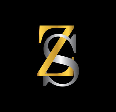 ZS initial letter with gold and silver