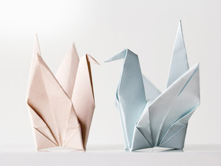 Origami couple paper crane