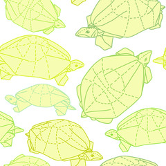 Origami turtles drawing illustration
