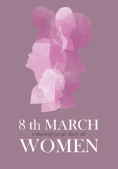 8th march. Illustration of women for international women's day
