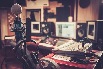 Close-up of boutique recording studio control desk. Wall mural