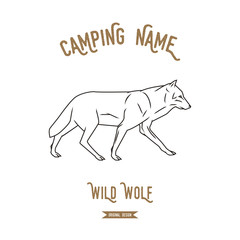 Wolf vector illustration. European animals silhouettes vintage.