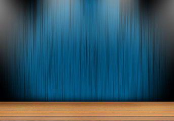 Stage with Blue curtain and light