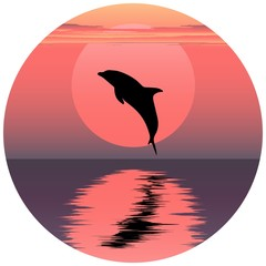 Vector illustration of dolphin. Jumping dolphin. Dolphin at sunset. Dolphin at sunrise. Dolphin reflected in water. Ocean animal. Sea friend of humans.