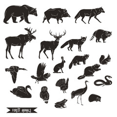 Forest animals silhouettes vintage. Vector illustration