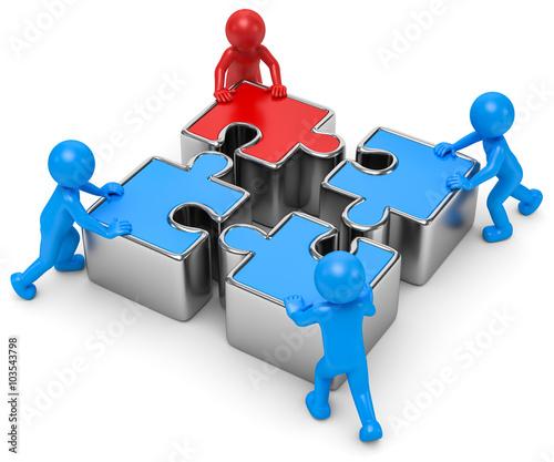 Quot 3d M 228 Nnchen Puzzle Team Quot Stockfotos Und Lizenzfreie