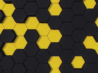Honeyomb yellow black abstract 3d hexagon background