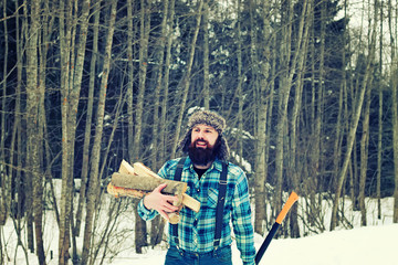 winter man axe wood