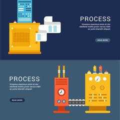 Flat Style Design Concepts Machines for Web Banner Template