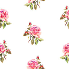 Seamless floral pattern with little watercolor roses. Used for b