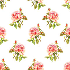 Watercolor roses. Seamless wallpaper floral pattern. Used for ba