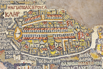 Jordan. Madaba (biblical Medeba) - St. George's Church. Fragment of the oldest floor mosaic map of the Holy Land - the Holy City Jerusalem