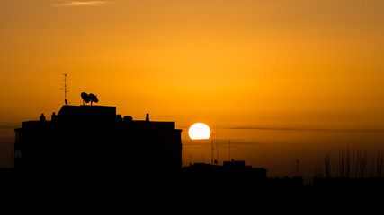 Silhouettes of buildings and television aerials at sunrise in Madrid