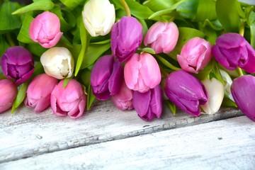 Grußkarte - Tulpenstrauß - Frühlingsblumen