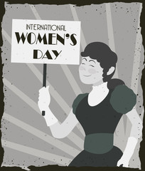 Pretty Old Fashioned Woman with banner Marching in Women's Day, Vector Illustration
