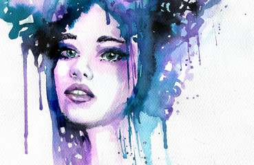 Photo sur Toile Inspiration painterly Abstract watercolor illustration depicting a portrait of a woman