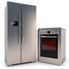 refrigerator with a display and gas stove with oven isolated on
