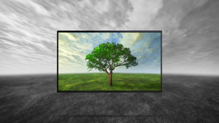 color contrast of  tv display with dim gray background